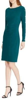 Lauren Ralph Lauren Button-Trim Jersey Dress