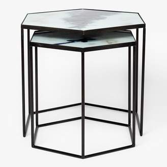 Reflect 2-Piece Hexagon Nesting Table Set Blue