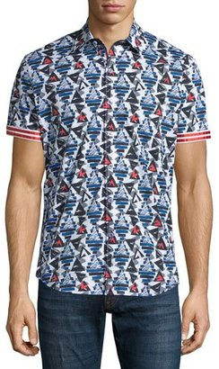 Robert Graham Cinder Cones Printed Short-Sleeve Shirt, Multicolor $198 thestylecure.com
