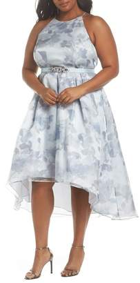 Eliza J Beaded Waist High/Low Gown (Plus Size)