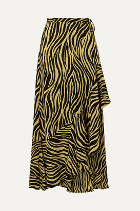 Faithfull The Brand Jasper Zebra-print Crepon Wrap Skirt - Zebra print