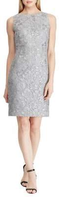 Lauren Ralph Lauren Sequined Floral Mesh Dress