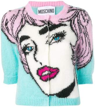 Moschino face pattern cardigan