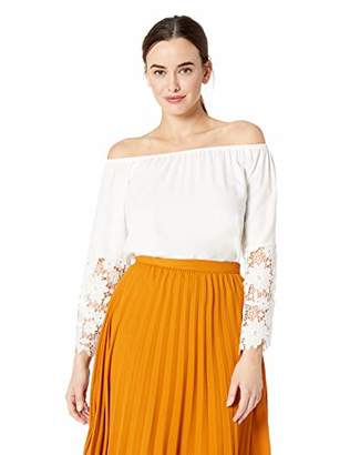 MSK Women's On/Off The Shoulder lace Bell Sleeve top