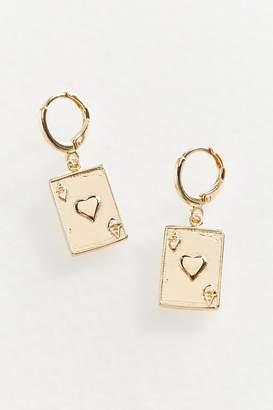 Urban Outfitters Ace Of Hearts Charm Hoop Earring