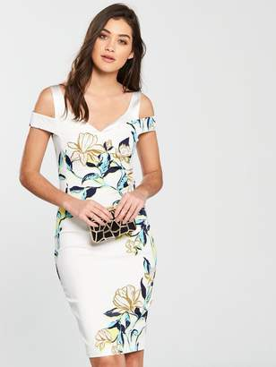 Karen Millen Magnolia Print Dress - White