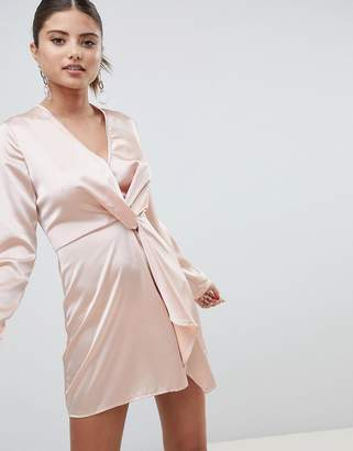 PrettyLittleThing Satin Twist Front Mini Dress