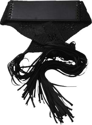 Oscar de la Renta Woven Tie Front Leather Belt