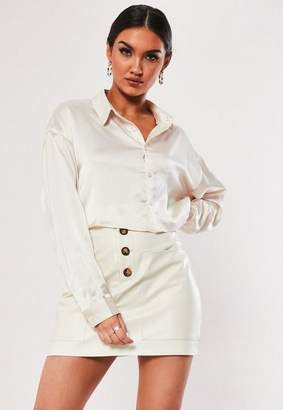 Missguided White Faux Leather Button Detail Mini Skirt