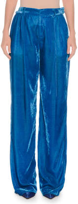 ATTICO High-Rise Wide-Leg Velvet Pants
