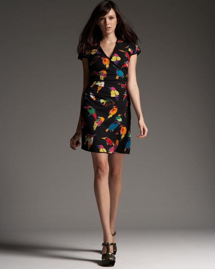 Marc Jacobs Bird-Print Wrap Dress