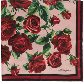 Dolce & Gabbana Pink and Red Silk Roses Scarf