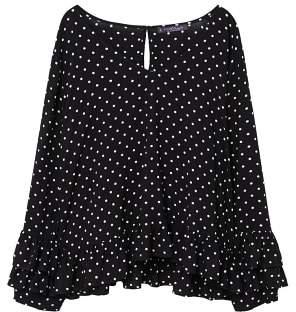 Violeta BY MANGO Ruffles polka dot blouse