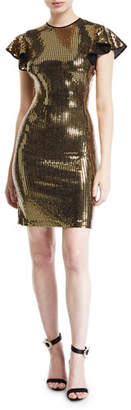 Naeem Khan NK32 Flutter Cap-Sleeve Open-Back Sequined Dress