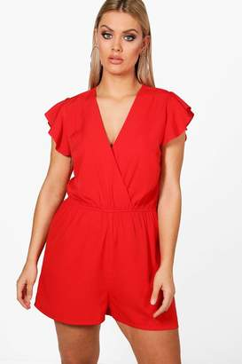 boohoo Plus Ruffle Sleeve Playsuit