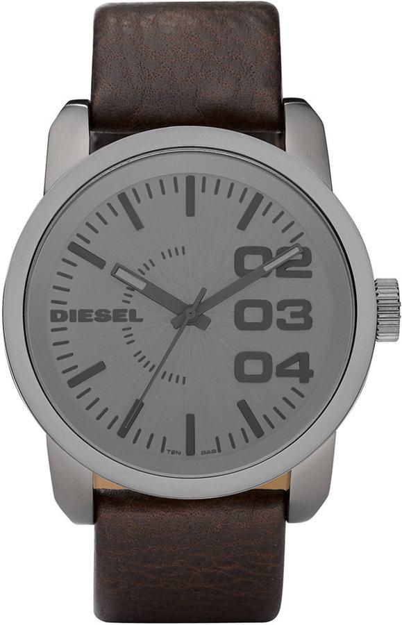 DieselDiesel Watch, Brown Leather Strap 46mm DZ1467