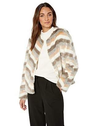 Calvin Klein Women's Chevron Faux Fur Jacket