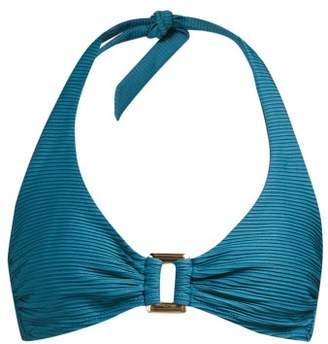 Heidi Klein Ubud Pintucked Halterneck Bikini Top - Womens - Green