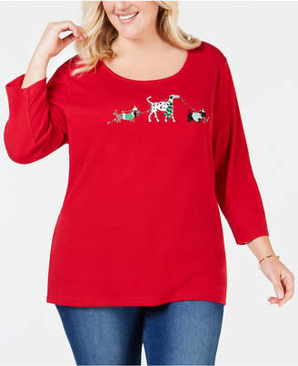 Karen Scott Plus Size Holiday Dog Walk Top, Created for Macy's