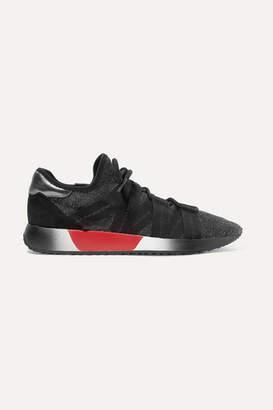 Diane von Furstenberg Pandora Metallic Stretch-knit Sneakers - Black