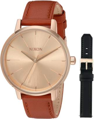 Nixon Women's 'Kensington Pack' Quartz Stainless Steel and Leather Casual Watch, Color:Rose Gold-Toned (Model: A11902780)