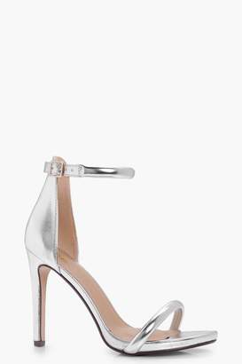 boohoo Megan Wide Fit Metallic 2 Part Heels