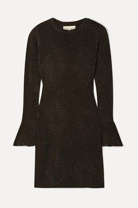 MICHAEL Michael Kors Ribbed Lurex Mini Dress - Black