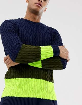 Asos Design DESIGN oversized cable knit sweater with neon panel