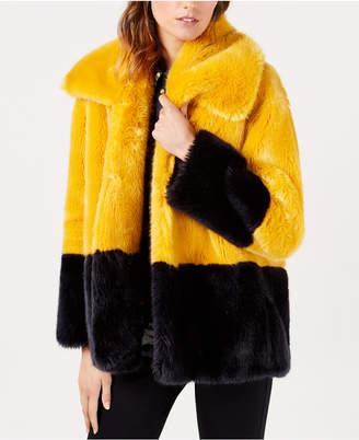 French Connection Sebille Colorblocked Faux-Fur Coat