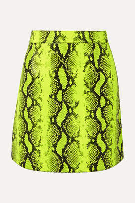 Off-White Neon Snake-effect Leather Mini Skirt - Lime green