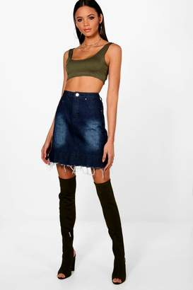 boohoo Tall Distressed Pleated Hem Denim Skirt