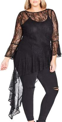 City Chic Sheer Lace Top