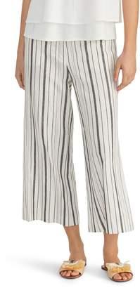 Rachel Roy Collection Stripe Linen Blend Crop Wide Leg Pants