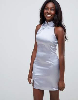 Glamorous satin mandarin collar shift dress
