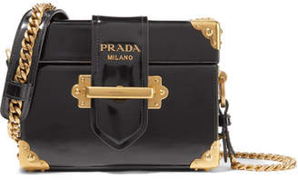 Prada Cahier Box Patent-leather Shoulder Bag - Black