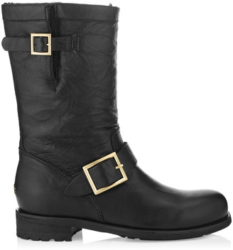 Jimmy Choo BIKER - LINED Black Biker Leather Biker Boots with Rabbit Fur
