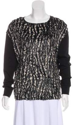 CNC Costume National Long Sleeve Faux Fur Sweatshirt