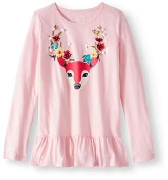 Wonder Nation Girls' Embellished Animal Long Sleeve Ruffle Hem T-Shirt