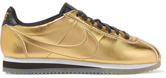 Nike - Classic Cortez Metallic Leather Sneakers - Gold $90 thestylecure.com