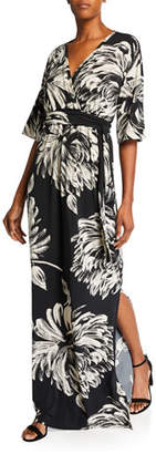 Melissa Masse Printed Long Caftan Dress with Belt