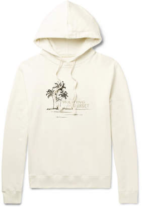 Printed Embroidered Loopback Cotton-Jersey Hoodie