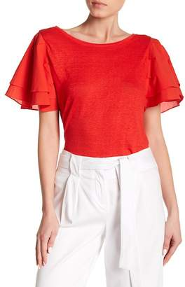 Laundry by Shelli Segal Boatneck Tiered Ruffle Top