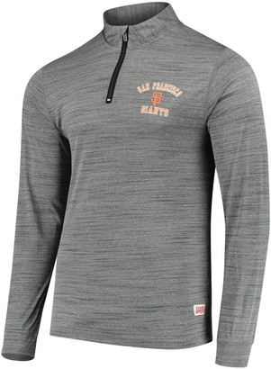 Stitches Men's Heathered Charcoal San Francisco Giants Twisted Yarn Quarter-Zip Pullover Jacket