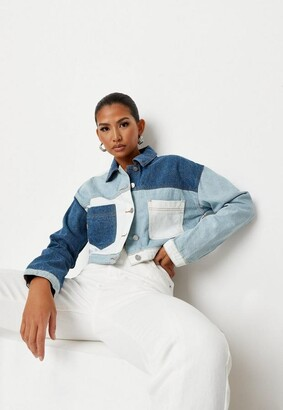 Missguided Blue Denim Contrast Patchwork Cropped Boxy Jacket