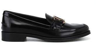 Tod's Tods Double T Oval Horsebit Black Loafers
