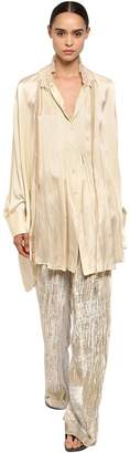 Ann Demeulemeester Silk Satin Shirt W/ Pleated Collar