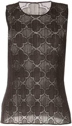 Pleats Please Issey Miyake Clover lace tank top