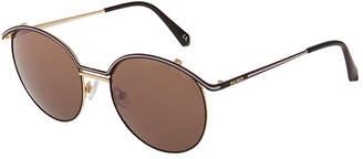 Balmain Round, Half-Rimmed Metal Sunglasses