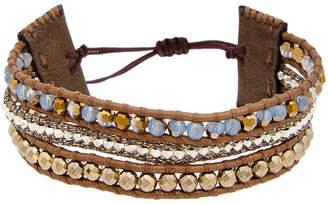 Chan Luu Silver Pyrite & Crystal Leather Adjustable Bracelet