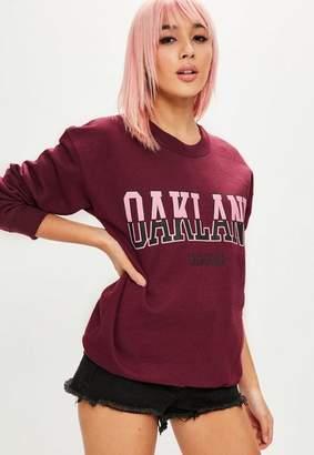 Missguided Burgundy Oakland Graphic Sweatshirt